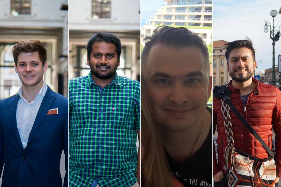 Chestnote's other developers (from left to right): Wouter, Ananth, Anton and Oscar.